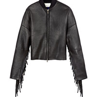 3.1 Phillip Lim Leather Bomber with Fringe - Leather Jacket - ShopBAZAAR