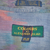 Mens Shirt Colours by Alexander Julian Casual Medium Multicolor Pastel Art Print Cotton Short Sleeve Button Down Box Pleat Vintage Fashion