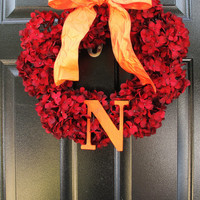 Monogram Fall Wreath - Red Hydrangea Wreath - Thanksgiving Home Decor