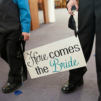 HERE comes the BRIDE - One sided - Vintage Shabby Chic Wedding Sign, FLower girl, Ring Bearer sign