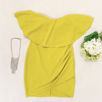 Mustard Bodycon Dress Set - Medium