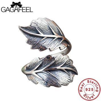 GAGAFEEL 100% Real 925 Sterling Silver Jewelry Vintage Leaf Rings for Women & Men High Quality Thai Silver Jewelry Finger Rings