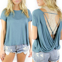 Basin City Teal Blue Twisted Back Short Sleeve Top