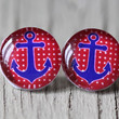 Anchor Studs : Blue and Red Nautical Glass Anchor Earrings, Fake Plugs, Beach, Summer, ArtisanTree