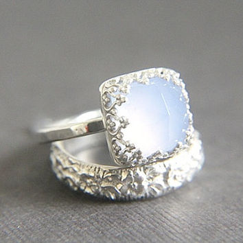 Captivating Vintage Style Chalcedony Wedding Ring Set   Eco Friendly Engrave