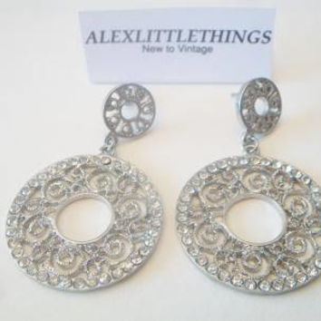 Rhinestone Filigree Hoop Earrings Feminine Scrolling Lace Costume Jewelry