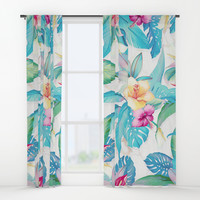 Blue tropical flowers Window Curtains by printapix