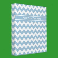 Custom Ring Binder or File Blue and White Chevrons from Zazzle.com
