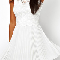 White Lace Pleated Dress - Lookbook Store