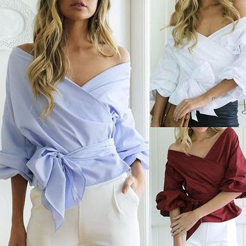 ESBON Fashion Solid Color V-Neck Strappy Puff Sleeve Long Sleeve Shirt Tops