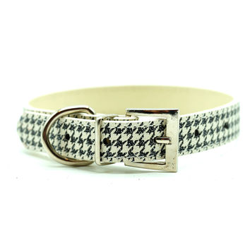 Classic Houndstooth Dog Collar (Black)