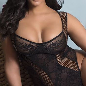 Sexy Plus Size Salty Floral Lace and Lattice Trim Teddy