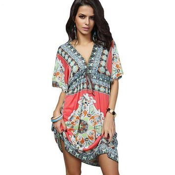 Boho Summer Women Dress Sexy Loose Sundresses Deep V Ethnic Dashiki Print Tunic Beach Dresses Plus Size 2XL Woman SunDress Robe