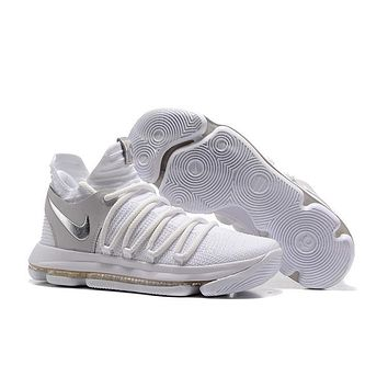 2017 Nike Mens Kevin Durant KD 10 White/Gray/Silver Basketball Shoes