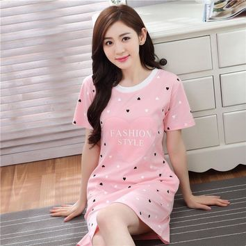 ESBONHS 2017 New Casual Cotton Nightgown Female Cartoon Lovely Loose Home Sleepwear Pyjamas Summer Short Sleeve Sexy Lingerie Nightdress