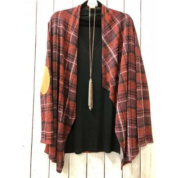 Red Plaid Cardigan One Size ZZ