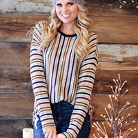 * Glad You Came Striped Knit Top: Multi
