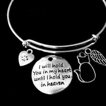 Black Cat I will Hold you in my Heart Pet Memorial Jewelry Adjustable Bracelet Silver Expandable Charm Bangle One Size Fits All Gift Paw Print Heart