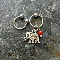 Elephant - Red Agate Stone - 20g 18g 16g 14g CBR / BCR Bead Captive Ring Horseshoe Piercing Jewelry Hoop ( Helix Tragus Orbital )