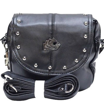 Dead Man's Hand Leather Hip Bag with Detachable Strap