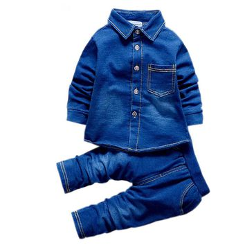 1,2,3,4 T Baby Denim Clothing Set For Boys And Girls Clothes Solid 2PCS Kids Suits