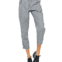 Motel Mason Cropped Trouser in Gingham Check Black White