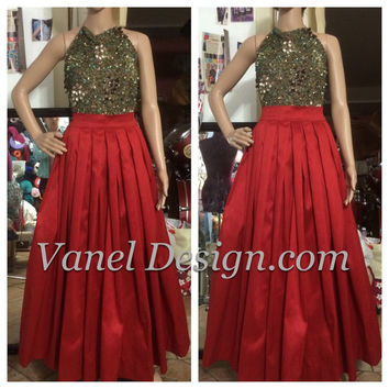 Maxi Skirt with Sash Romantic Black Long Skirt Pockets Elegant skirt Famous Red skirt formal pleated skirt