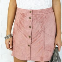 Mad Love Suede Mini Skirt - Dusty Rose