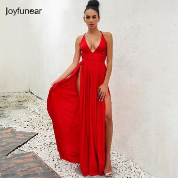 backless high split dress long strap maxi dresses  2018 bandage  sexy V neck wrap around  robe longue party dress femme vestidos