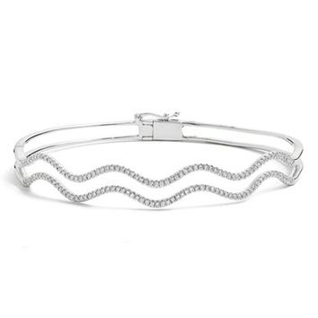 Women's Bony Levy 2-Row Wavy Diamond Hinged Bangle (Limited Edition) (Nordstrom Exclusive)