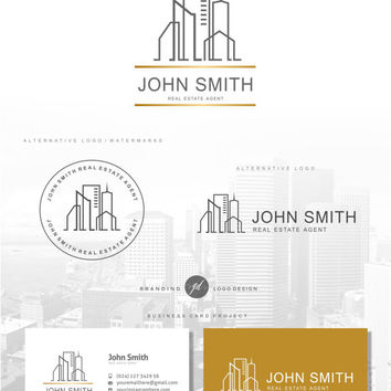 Real Estate logo house, Agent logo design, Real estate business card, Realtor logo, Branding Kit, Watermark logo Gold logo, Boutique logo 81