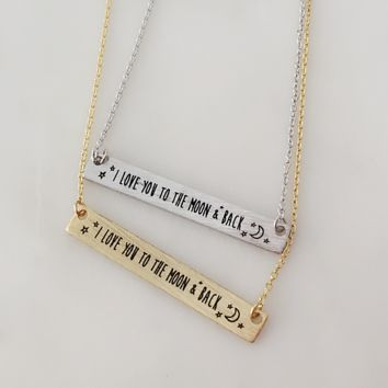 I Love You To The Moon Bar Necklace