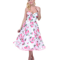 Unique Vintage Coming Up Roses Strapless Swing Dress - Unique Vintage - Prom dresses, retro dresses, retro swimsuits.