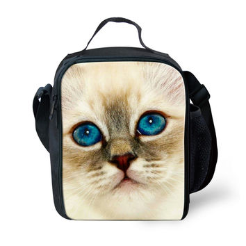 Brand Design Large Kids Gilrs Animal Flower Thermal Bag Cat Print Cooler Picnic Bags Women Adult Insulation Package Lunch Bags