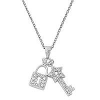 Sterling Silver and Cubic Zirconia Lock and Key Pendant Necklace