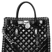 Women's MICHAEL Michael Kors 'Hamilton - Hippie Grommet' Quilted Leather Tote