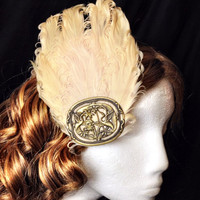 Ivory feather and bronze crane fascinator hair clip