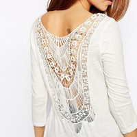 Only 3/4 Sleeve T-Shirt With Crochet Back