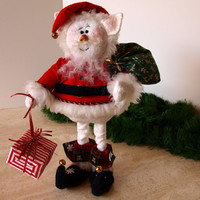Snow Elf With Santa Sack and Gift