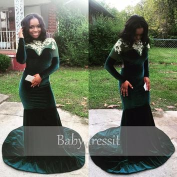 Long Velvet Prom Dresses Black Girl Sheer Lace Top Long Sleeve Backless Court Train Mermaid Emerald Green African Prom Dress