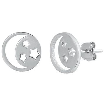 .925 Sterling Silver Moon and Stars Ladies and Kids Stud Earrings