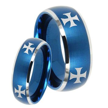 His Hers 4 Maltese Cross Dome Brushed Blue 2 Tone Tungsten Engraving Ring Set