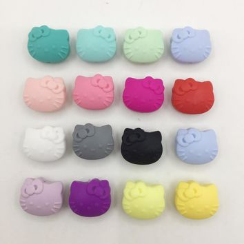 50PCS New Toys Candy Colors Silicone Bead Hello Kitty Loose Bead ,Cartoon Kitty Silicone Chew Beads cartoon Cat Teething