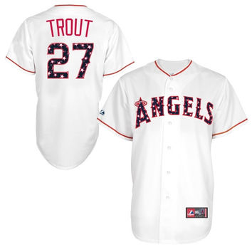 Mike Trout Los Angeles Angels of Anaheim Majestic Stars & Stripes Replica Jersey – White
