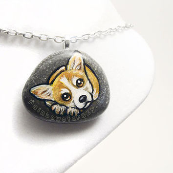 Corgi Necklace, Dog Portrait, Art Pendant, Hand Painted Jewelry, Gift for Her, Hand Painted Rock, Beach Stone, Pet Memorial