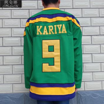 Ducks Movie Jerseys #9 Paul Kariya Jersey 0902 Purple Green White Throwback