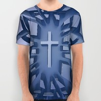 Abstract 3D Christian Cross All Over Print Shirt by Joe Surfer