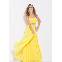 2013 Prom Dresses - Yellow Chiffon & Beaded Strapless Sweetheart Prom Dress - Unique Vintage - Prom dresses, retro dresses, retro swimsuits.