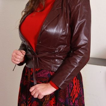 Belted Maroon Leather Jacket / M