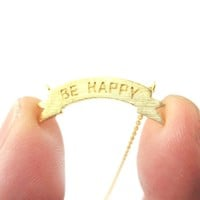 Engraved Be Happy Mini Banner Bar Motivational Charm Necklace in Gold | DOTOLY